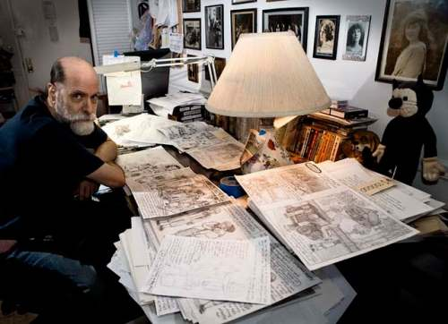 Kim Deitch at his drawing board.