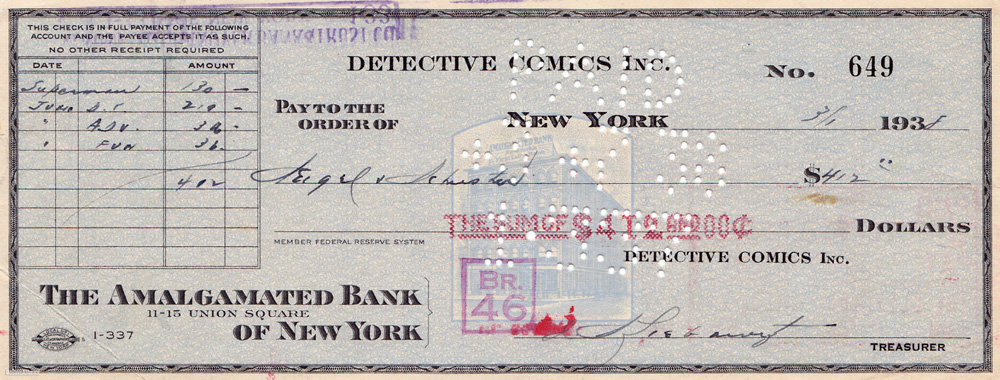 1938: $130 check from DC to Siegel &  Shuster signing over  the exclusive rights to Superman.