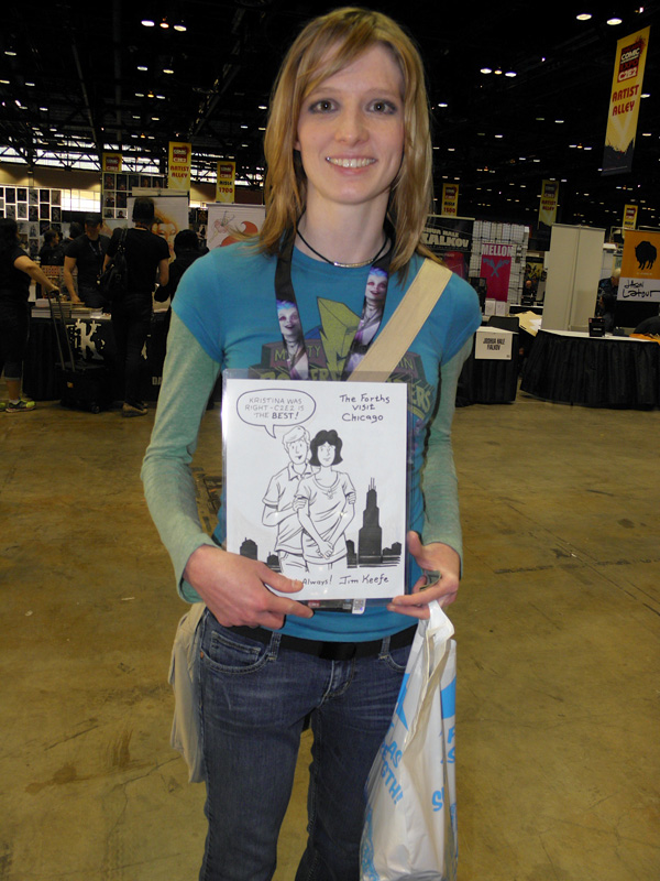 Kristina Chlebowski with her Sally and Ted con sketch.