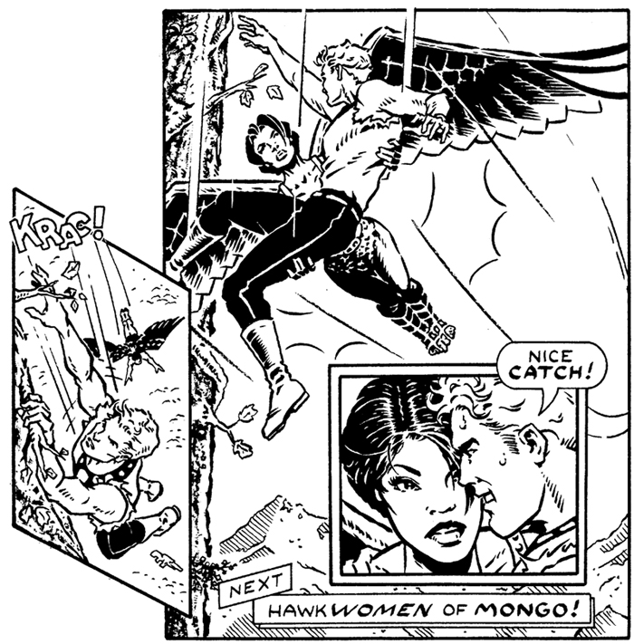 Black and white art for January 26, 1979 Flash Gordon Sunday.
