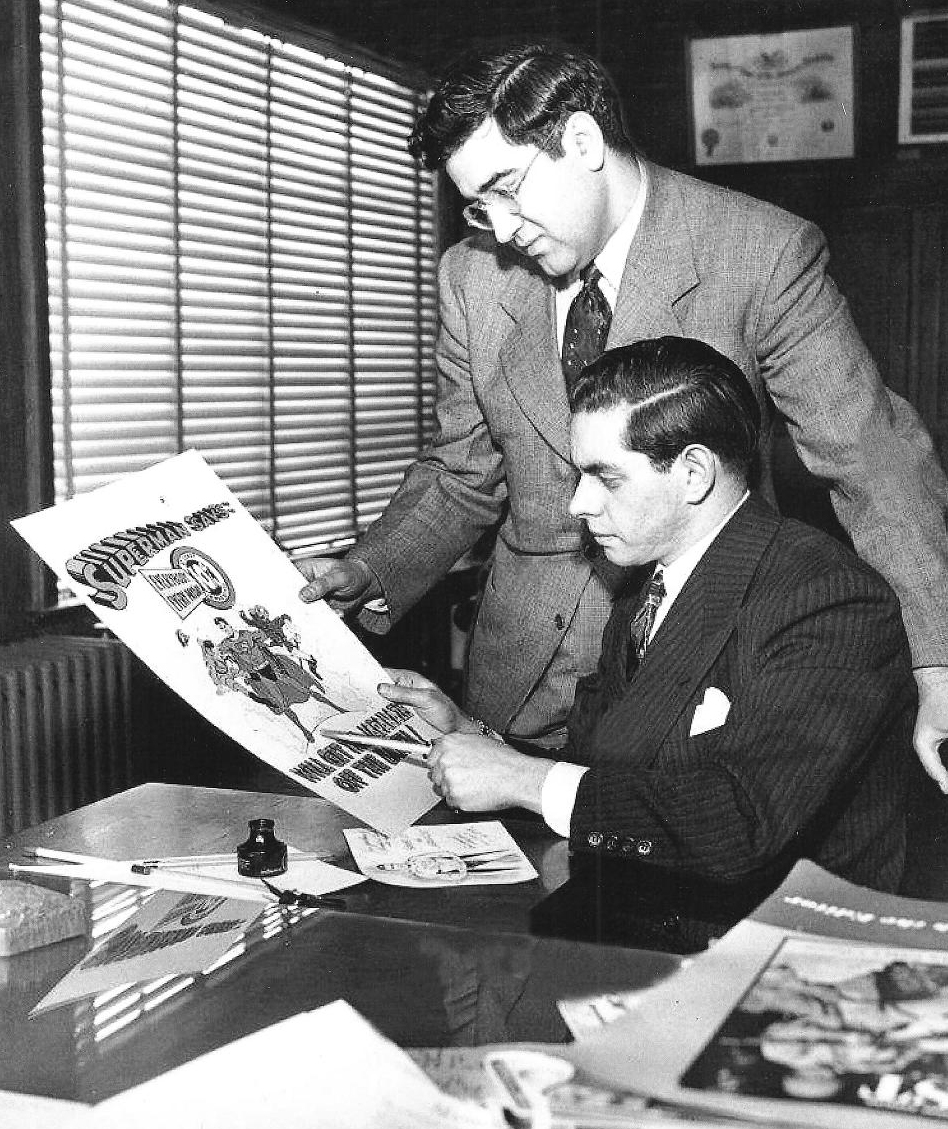 Jerry Siegel (standing) and Joe Shuster. Creators of Superman.