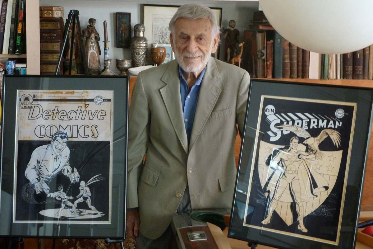 Jerry Robinson with some of his iconic art.