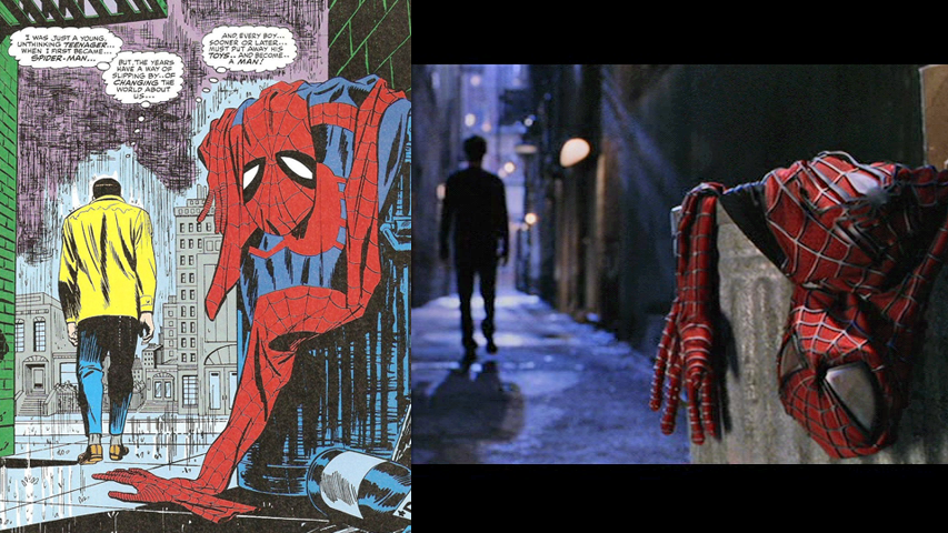 Iconic moment from Amazing Spider-Man #50 (July 1967) used for the 2004 Sam Raimi movie, Spider-Man 2.