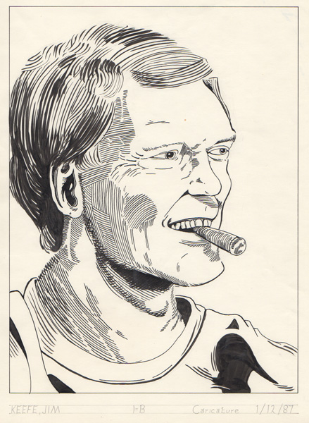 Letterman caricature done my first year at the Joe Kubert School (January 1987).