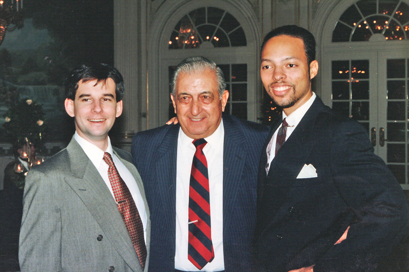 1993 King Features Christmas party in New York City Left to right - Jim Keefe, Frank Chillino and Jerry Craft.