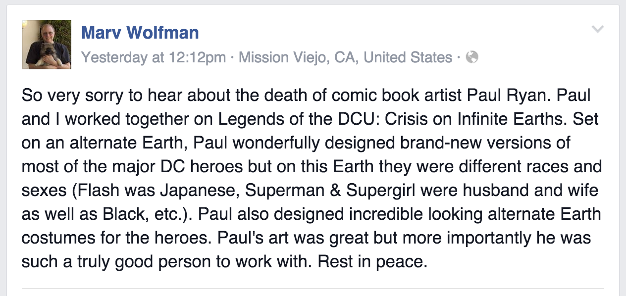 From Marv Wolfman's Facebook page.
